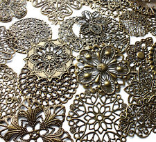 20 x Quality Mix Style/Size Antique Bronze Filigree Wrap Stamped Embellishment