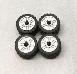 4 X Genuine Lego Wheels Thick Tread Tyre 30.4 x 14 Part 55981 Light Grey FREEP&P
