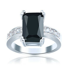 Nice Women Jewelry Black  Gemstone 925 sterling silver Wedding Ring Size7 M405
