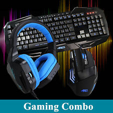 ARES K3 3 LED Backlit Gaming Keyboard 3200DPI Mouse CT-820 Blue Headphone Combo