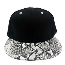 SNAKE SKIN PLAIN (BLACK/WHITE) COTTON SNAPBACK CAP