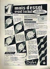 H- Publicité Advertising 1959 Les Montres Difor