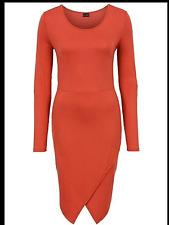 Kaleidoscope BodyFlirt Size 14 16 Simply Fab Rust Jersey Wrap DRESS Stylish