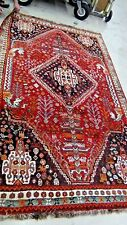 VINTAGE IRANIAN ORIENTAL RUG 5'x8' GEOMETRIC PATTERN ON RED GROUND 4 DRAGON HEAD