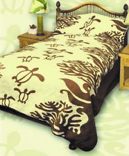 Queen Hawaiian Quilt comforter Bedspread Turtle with 2 shams Brown
