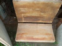 "Vintage Child's School Desk Wood & Decorative Wrought Iron Seat 13"" Folds Up"