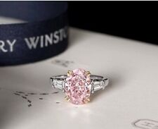 Engagement Ring 925 Sterling Silver 5.13-carat pink Three Stone Classic Winston