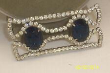 Big Sapphire Blue Faceted Rhinestones Large Clear Rhinestone Sash Buckle W/