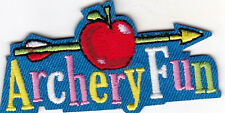 """""""ARCHERY FUN"""" w/ARROW & APPLE - SPORTS - GAMES - Iron On Embroidered Patch"""