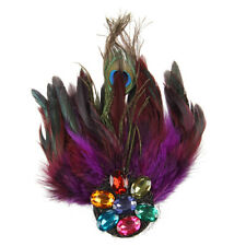 Purple Peacock Feather Crystal Rhinestone Hair Clip Fascinator WS