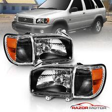 For 1999-2004 Nissan Pathfinder 4D Utility Headlights+Corner Signal Lamps Black