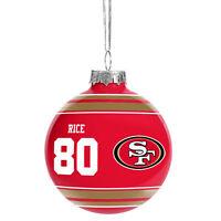 "San Francisco 49ers NFL Jerry Rice #80 Legends Glass Christmas Ornament 2 5/8"""