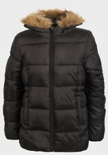 Girls Winter Coat Jacket Hooded School Fleece Warm Quilted Kids Black Faux Fur