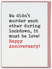 Post Lockdown Anniversary Card Isolation Quarantine Funny Humour Husband Wife