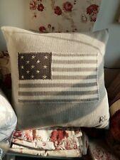 Ralph Lauren American Flag Grey Decorative Sweater Pillow 20 x 20