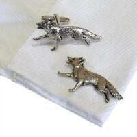 Silver Pewter Running Fox Cufflinks English Hand Made Hunting New