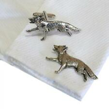 Cufflinks English Hand Made Hunting New Silver Pewter Running Fox High Quality