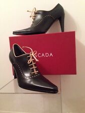ESCADA Schuhe Oxford Heels Black Ankle Bootie size 37.5 Made in Italy