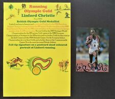 CHRISTIE LINFORD GREAT BRITAIN 100m OLYMPIC GOLD MEDAL 1992 SIGNED PROMOPHOTO