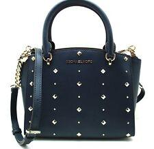 Michael Kors ELLIS Stud Small Convertible Crossbody Leather Bag Handbag Navy Blu