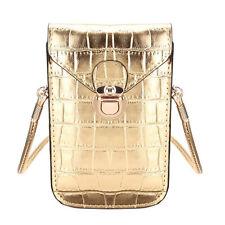 Elegante kleine Damen-Handtasche Schultertasche Krokoleder-Optik Gold