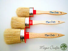Mc-10 6 Paint Brush Set 2 Shabby Chic Tiza Pintura Cera Pure Bristle cepillos ovales