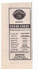 LORD SUTCH / ARTHUR BROWN - SPEAKEASY press clipping 1976 5x10cm (18/09/76)