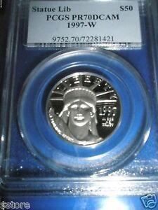 1997-W $50 1/2 Oz. PCGS PR70DCAM  PLATINUM STATUE OF LIBERTY COIN