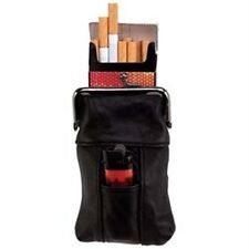 2 Cigarette Lighter Case Black Embassy Genuine Leather & Clip Close Top LUCIGCS