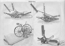 MÄHMASCHINEN Mähbalken Balkenmäher  Holzstich von 1897