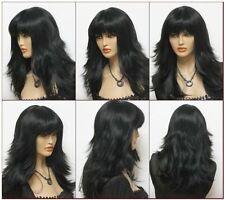 Élégant femme noir frisée longue perruquecosplay wig+hairnet