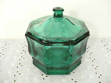 """Hexagon shaped Elegant Emerald Green in Covered Candy Bowl 5-1/4"""" tall"""