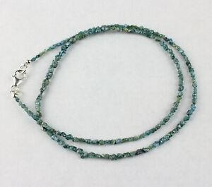 Blue Raw Diamond Necklace Precious Stone Sparkling Nuggets Top 25 CT /47 CM