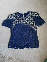 Vintage Blue and silver Sequin Short Sleeve Evening Top Size 10 12 Christmas