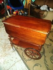 Vintage Pennsylvania House Cherry Drop Leaf Rolling Tea Cart, W/Single Drawer