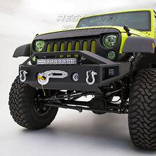 "Rock Crawler Front Bumper+21"" LED Light Mount+Winch Plate for 07-18 JK Wrangler"