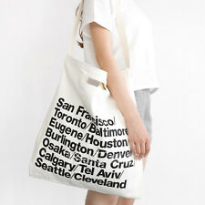 AUTHENTIC NWT American Apparel Cities Print Oversized Denim Tote Bag White Black