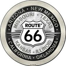 """Route 66 Eight States 12"""" Round Metal Sign Novelty Retro Home Wall Decor"""