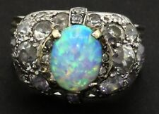 Antique 14K white gold 3.23CT diamond & opal cluster cocktail ring size 6.5