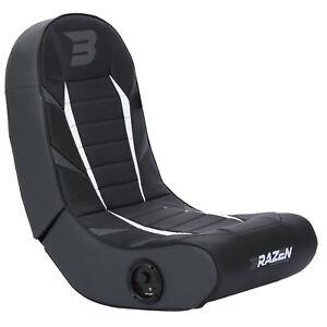 BraZen Floor Rocker Gaming Chair - Python 2.0 Bluetooth Speaker Sound - Grey