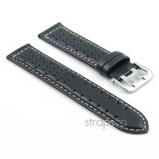 StrapsCo GT Rally Leather Watch Band Mens Strap Perforated Holes