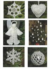 Christmas Tree Decorations Crochet Patterns Fairy Star Heart Angel  4ply  800