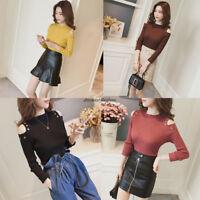 Korean Women Knit Off Shoulder Stretch Bottoming Shirt Blouse Top Sweater Shirt