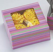 3 WILTON STRIPED CUPCAKE BOXES MUFFINS COOKIES EACH BOX HOLDS 4 CUPCAKES