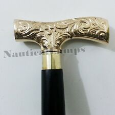 Carved Brass Hand Wooden Cane Walking Stick Designer Antique Vintage Men's Gift