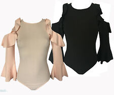 WOMENS BLACK PEACH BODY SUIT COLD OPEN SHOULDER RUFFLE FRILL SLEEVES LEOTARD TOP