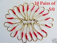 20 Assist Hooks 5/0 Gold Finis For Knife Vertical Jigs - 5 Packs 10 Pairs