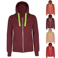 Ladies Plain Hoodie hoody Sweatshirt Womens Hooded Jumper Jacket Zip Up Top