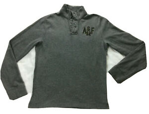 Abercrombie & Fitch Men's Gray Distressed Sweatshirt Slim Fit Long Sleeve Sz XL