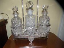 Antique Meriden Art Nouveau Silverplate Perfume Cologne Stand Three Bottles